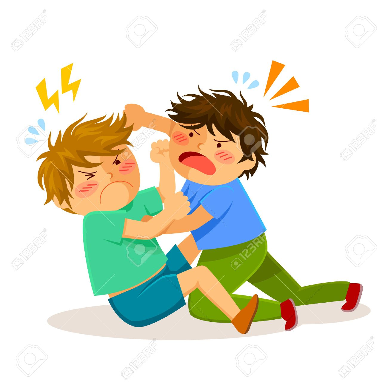 Kids Hitting Each Other Clipart.