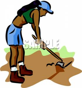 Clipart Picture: An African American Woman Using a Hoe on.