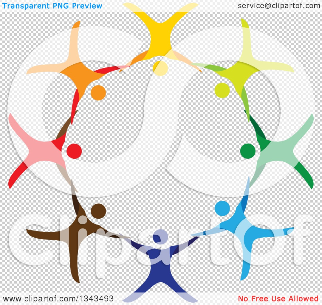 Clipart of a Teamwork Unity Circle of Colorful People Cheering.