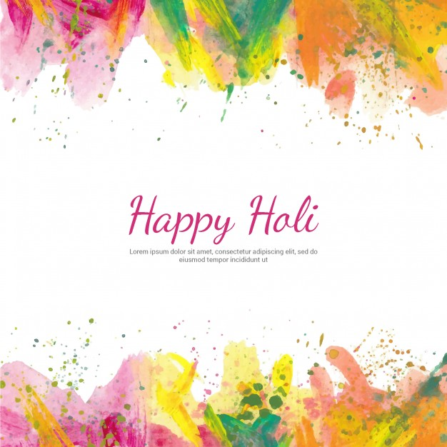 Holi background with watercolors Vector.
