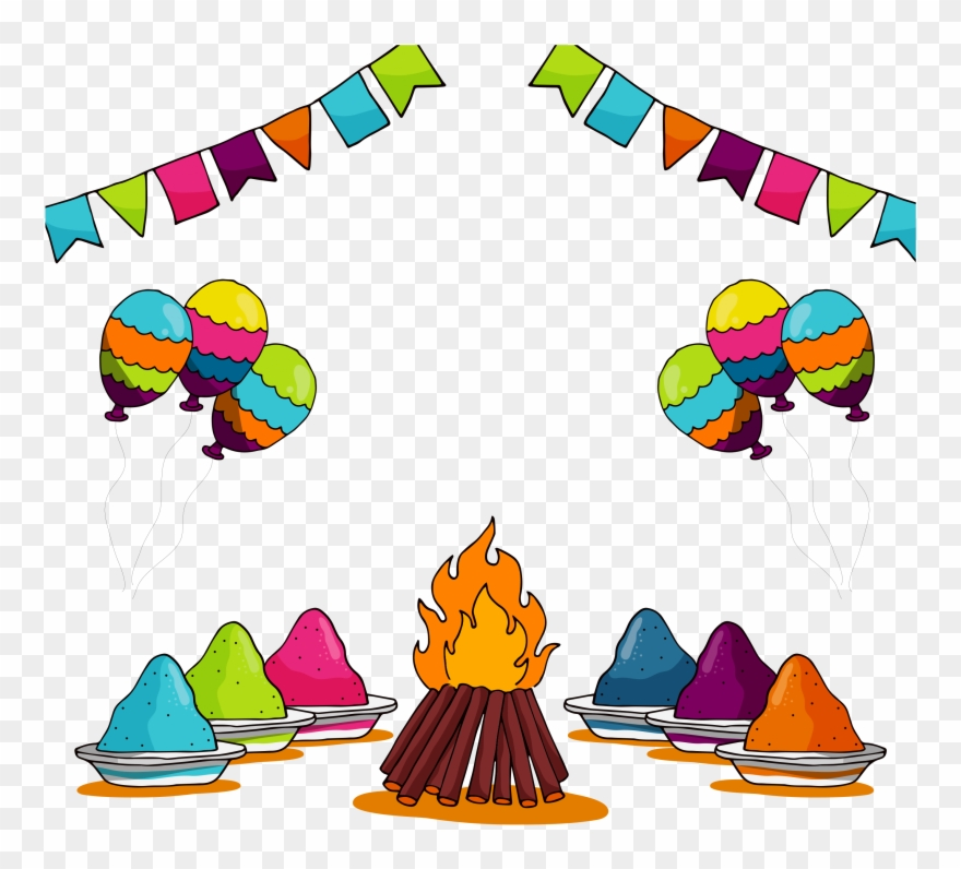Illustration Of Set Of Holi Element With Colors.
