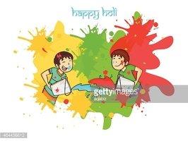 Happy Holi Festival Celebration With Little Stock Vector.