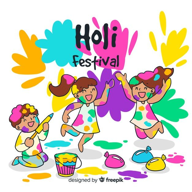 Hand drawn kids holi festival background Free Vector in 2019.