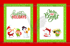 Holiday Greeting Cards with Santa, Snowman, Elf.