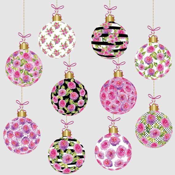 Christmas ornaments clipart, watercolor floral christmas.