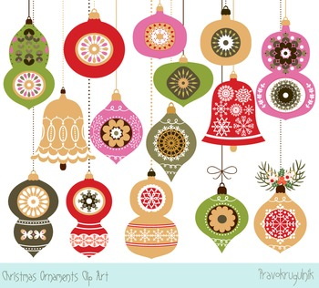 Christmas ornaments clipart, Holiday tree ornaments, Winter clip art images.