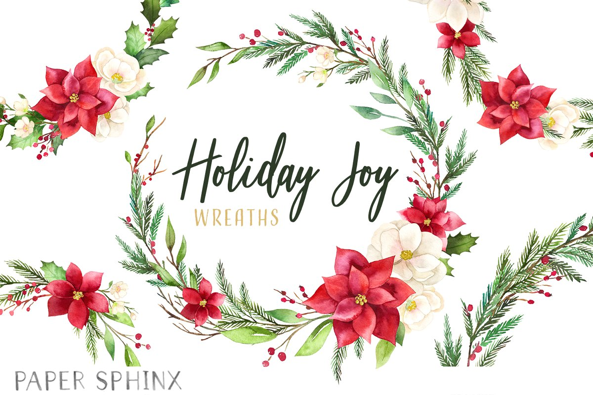 Holiday Christmas Wreath Clipart.