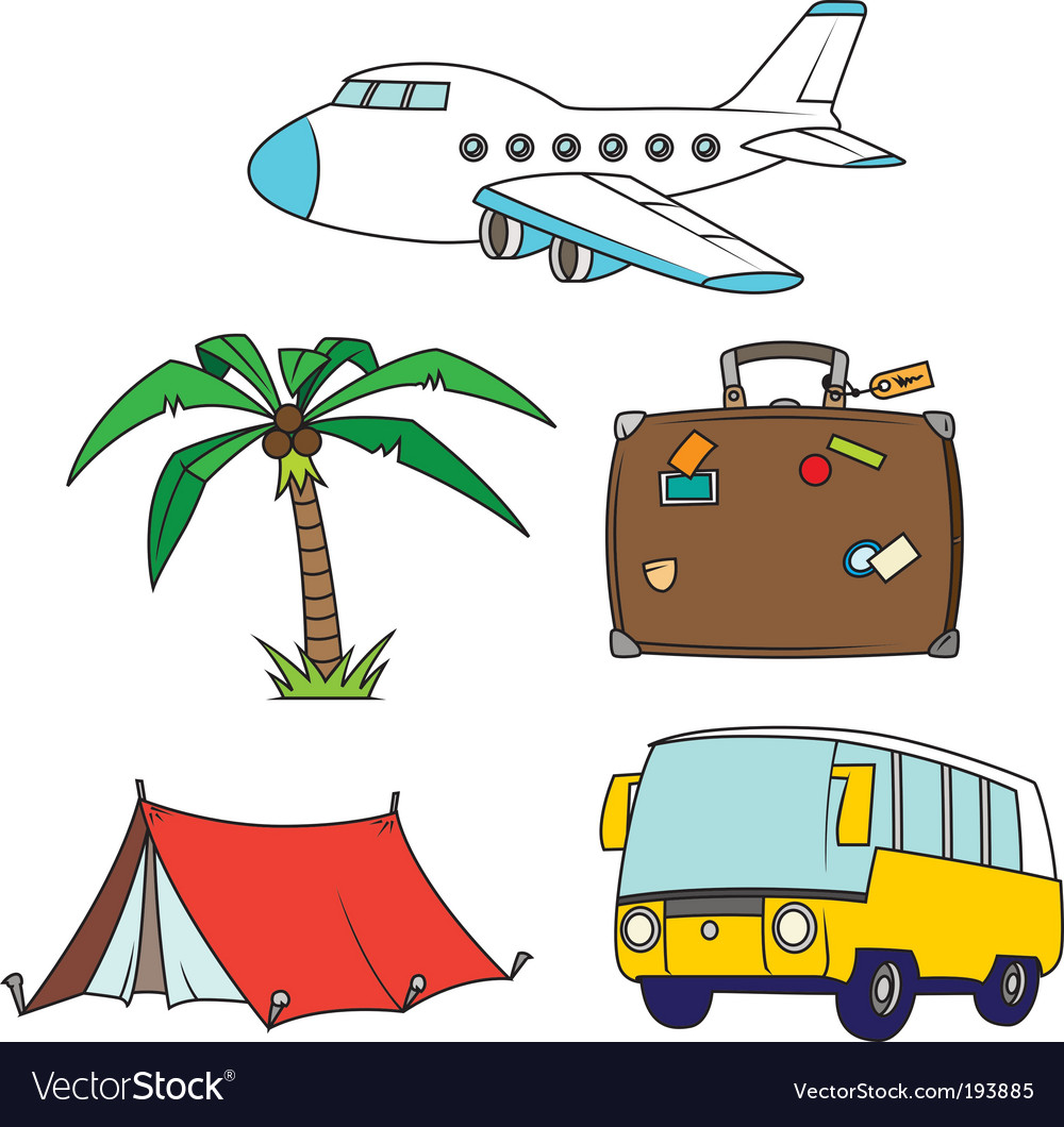 Holidays and travel clipart set.
