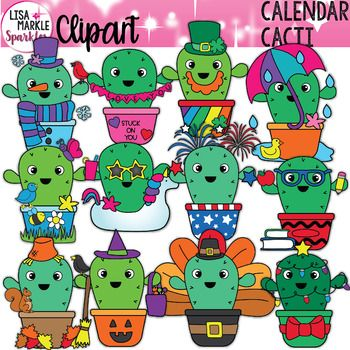 Seasons and Holidays Cactus Calendar Month Clipart.