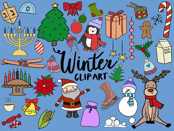 WINTER/HOLIDAY CLIPART, clip art, winter, christmas, kwanzaa.