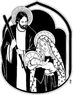 Holy Family Clipart Black And White.