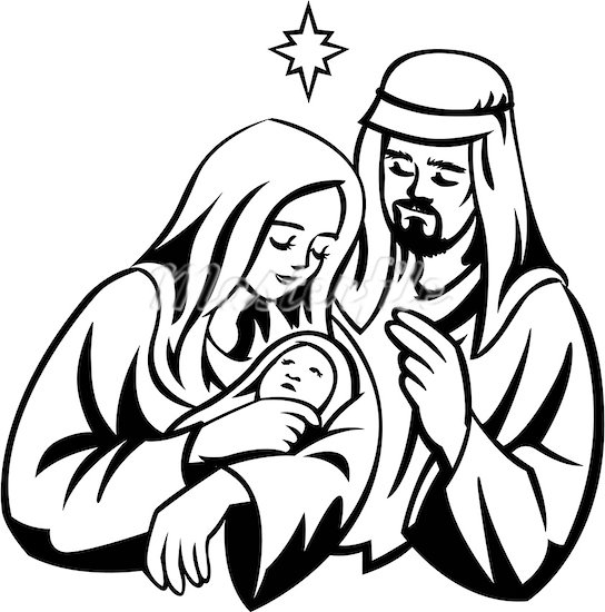 Holy Family Clipart Black And White