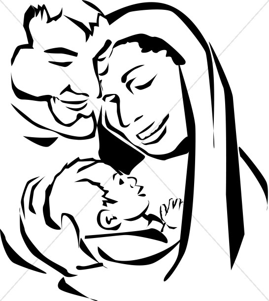 Jesus Mary and Joseph Embrace.