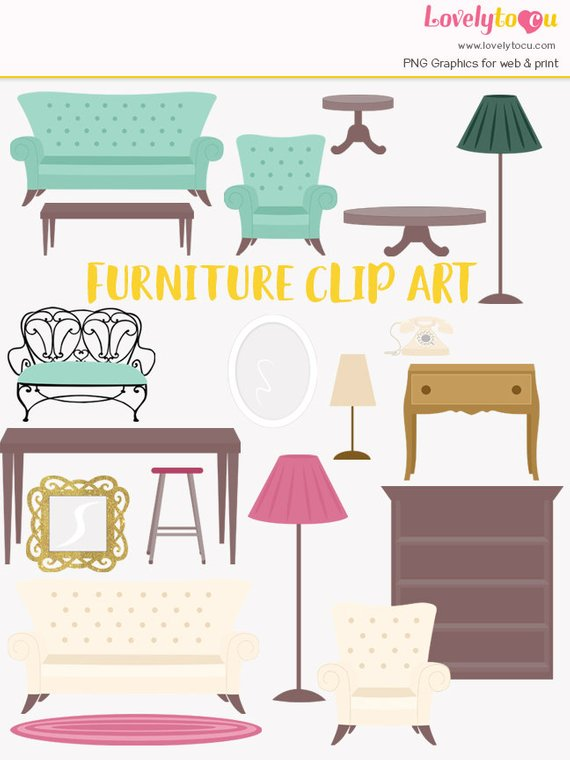 Furniture clipart, house furnishings, interior decorating.