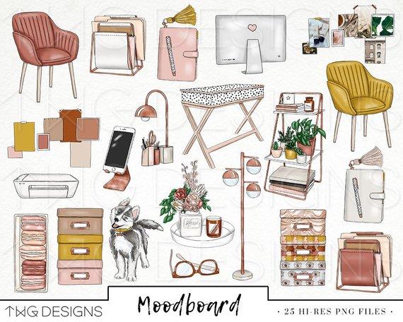 Mood board Fashion Girl Clip Art Watercolor Clipart Office.