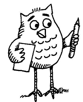 Owl Doing Homework Clip Art.