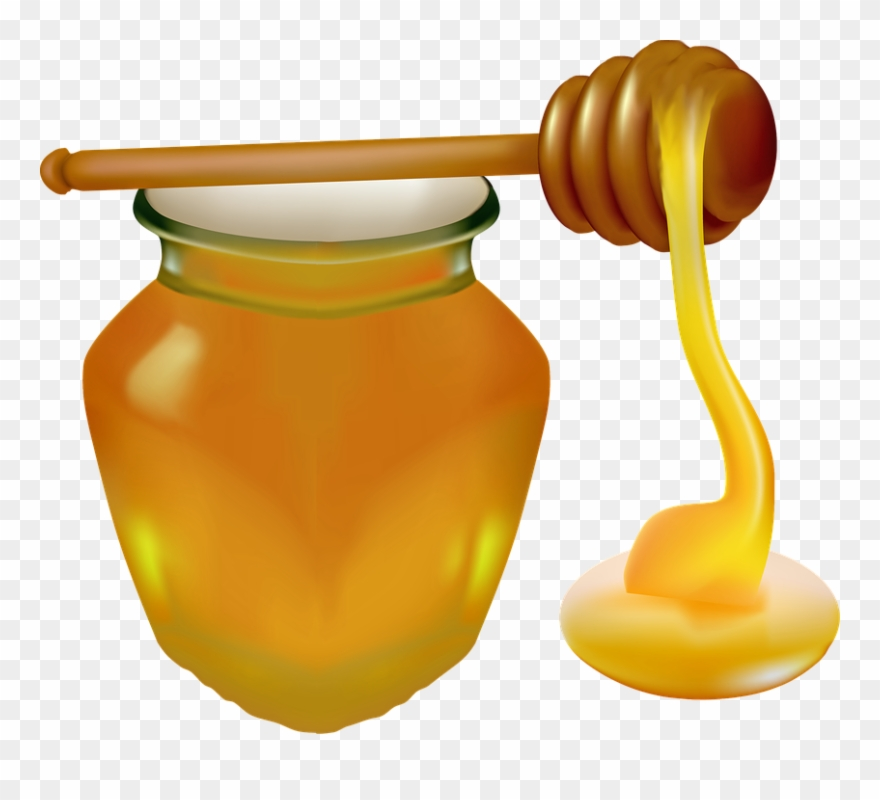 Honey Jar Honey Spoon Food Detox Sweet Glass Clipart.