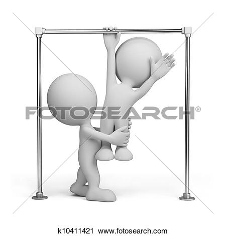 Clipart of 3D person on a horizontal bar k10411421.