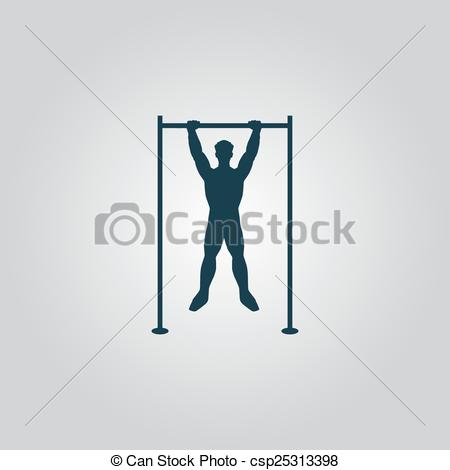 EPS Vectors of Horizontal bar and man. Flat web icon, sign or.