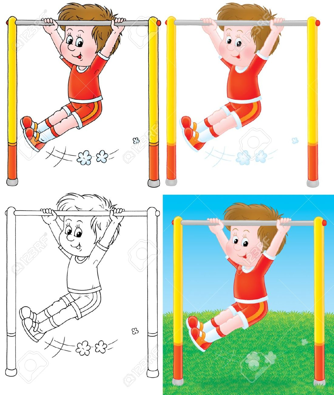Boy Training On A Horizontal Bar Stock Photo, Picture And Royalty.