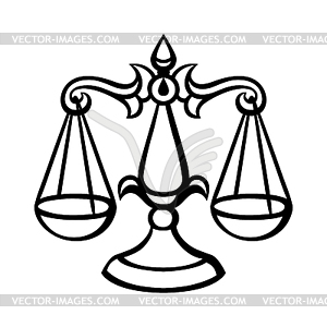 Libra zodiac sign, black horoscope symbol.