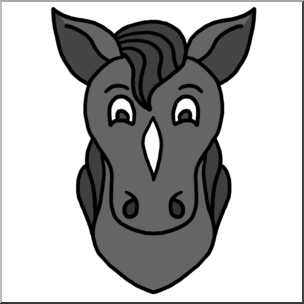 Clip Art: Cartoon Animal Faces: Horse Grayscale I abcteach.
