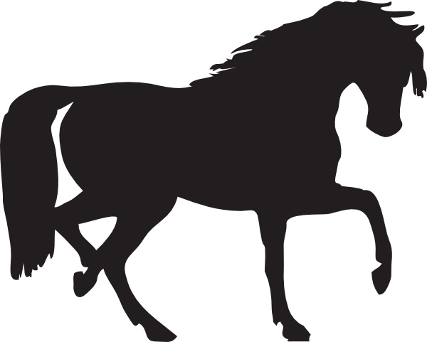 Horse Silhouette clip art Free vector in Open office drawing.