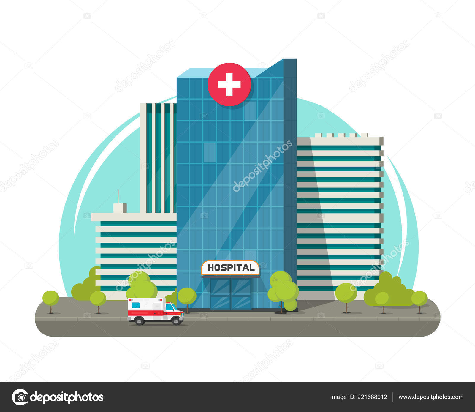 Hospital building isolated vector illustration, flat cartoon modern.