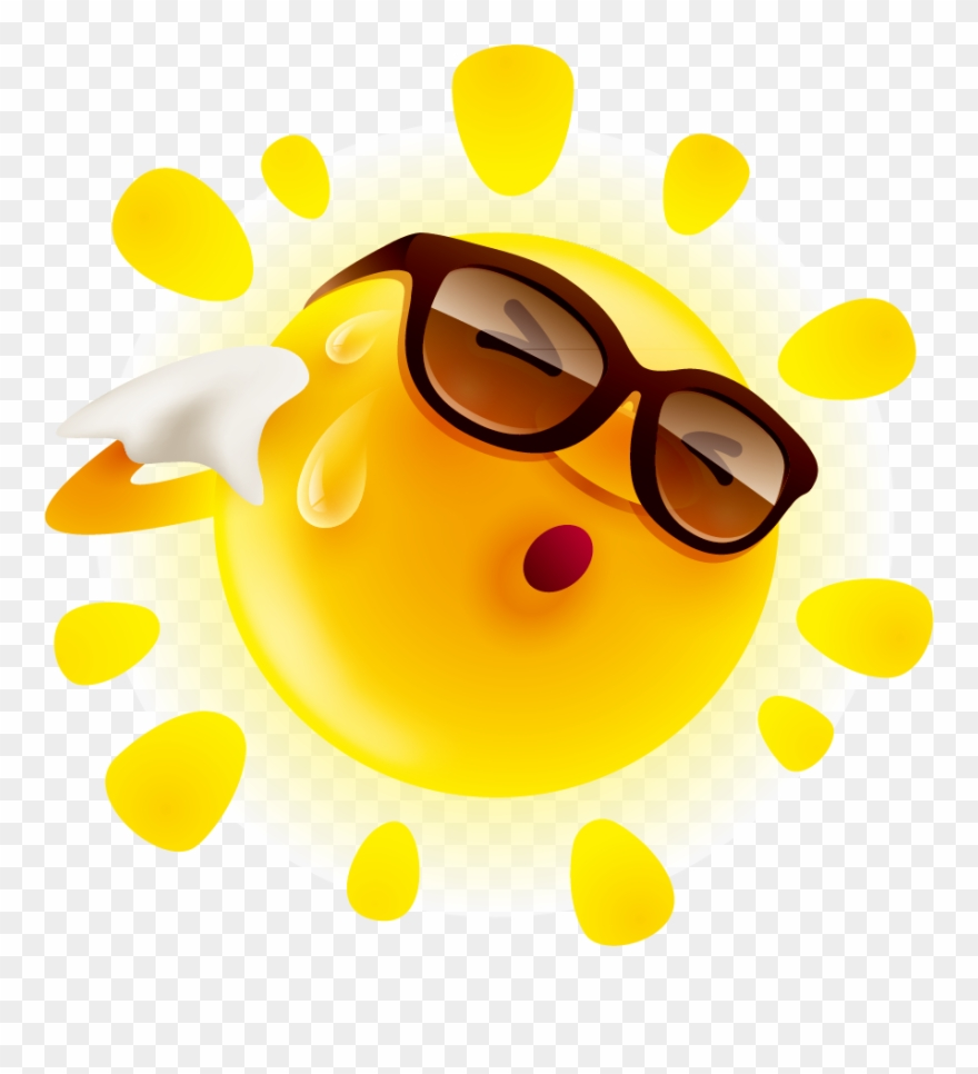 Summer Cute Sun Material Illustration Perspiration.