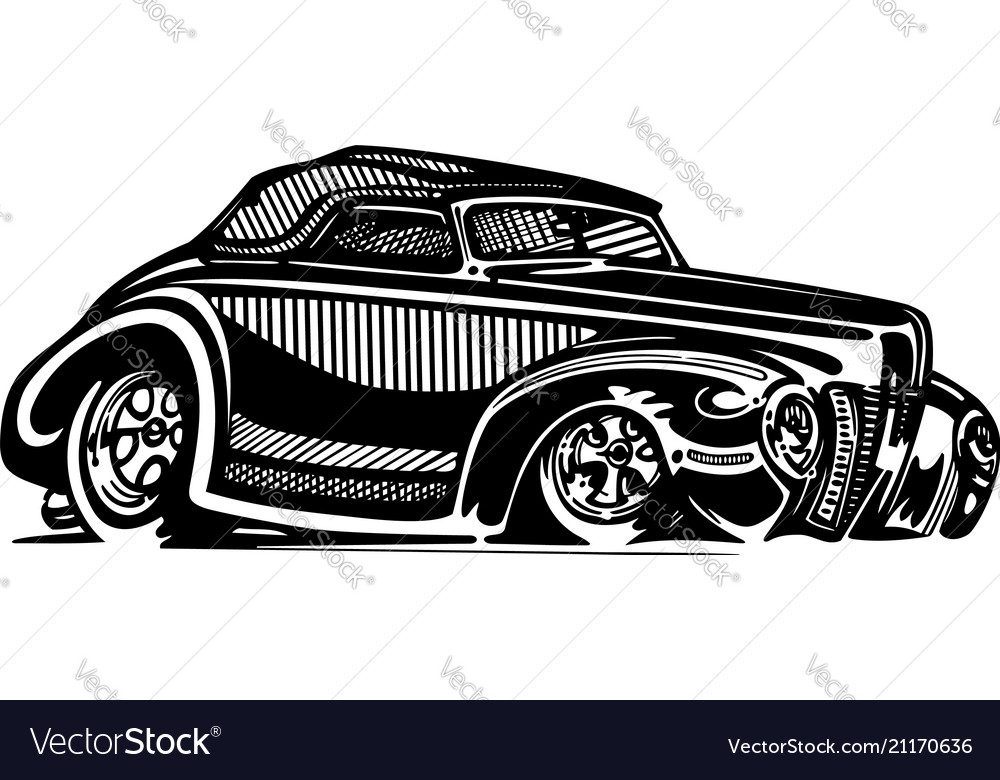 Retro hotrod car clipart cartoon.