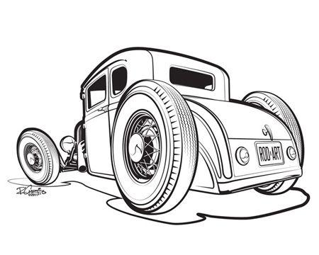 50s Hot Rod Cars Clipart.