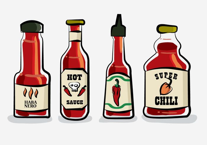 Hot Chili Sauce Bottle Habanero Vector Illustration.