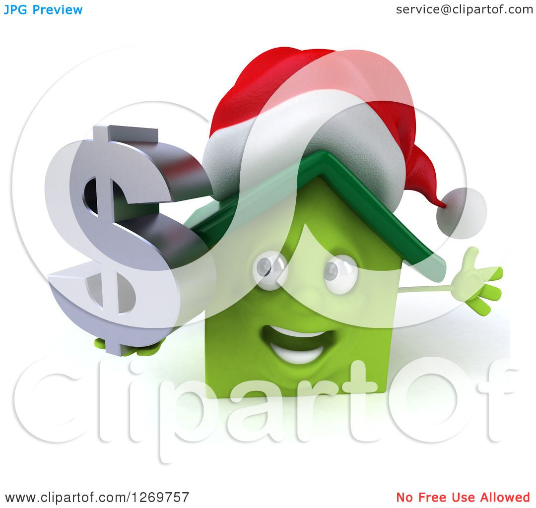 Clipart of a 3d Happy Green Christmas House Character Holding a.