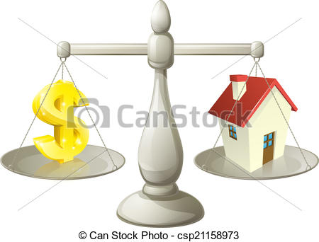 Vectors Illustration of House dollar scales concept.