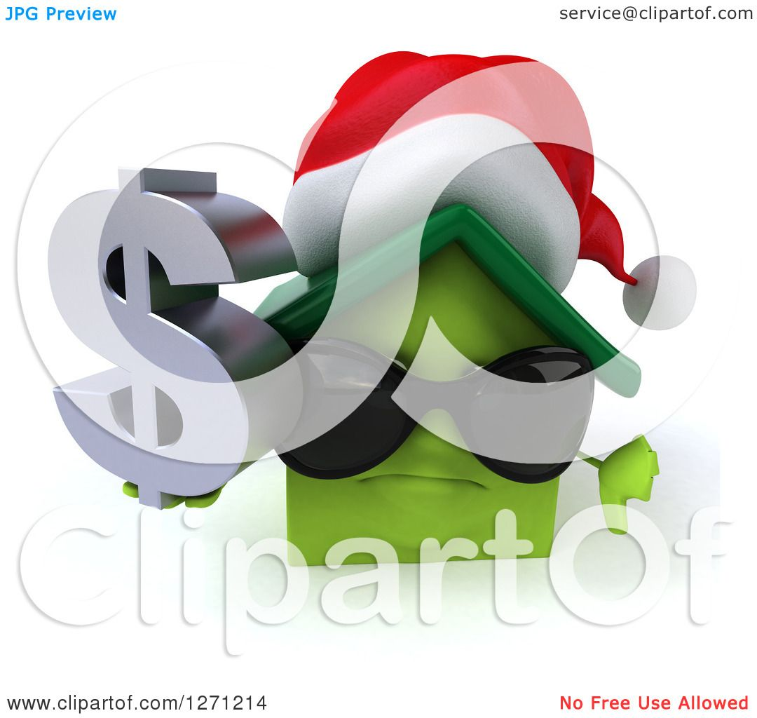 Clipart of a 3d Unhappy Green Christmas House Character Wearing.