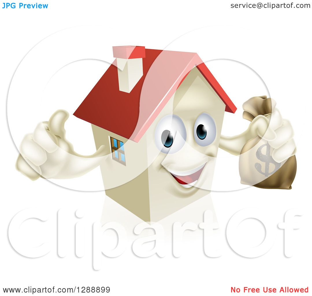 Clipart of a Happy House Character Holding a Thumb up and a Dollar.