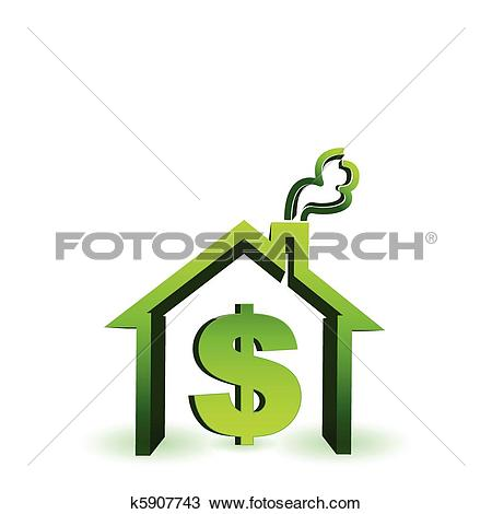 Clipart of house with dollar sign icon k5907743.