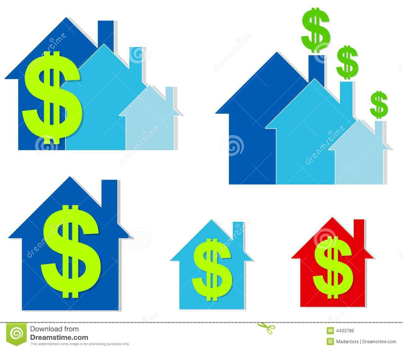 House Dollar Signs Clip Art Stock Photography.