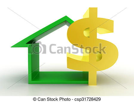 Clip Art of 3d house dollar concept on white background , front.