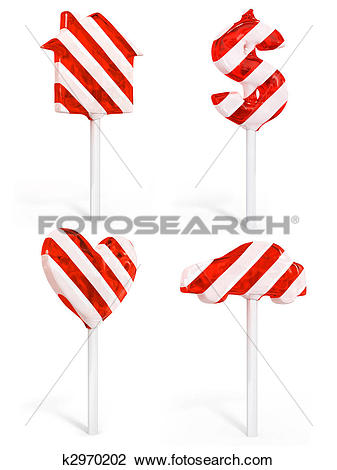 Clip Art of set of sweet candy house dollar heart and car k2970202.