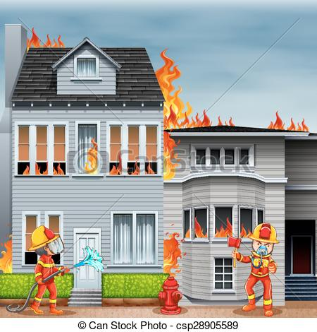 Vector of Firemen at the scene of house fire illustration.