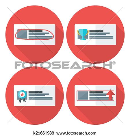 Clip Art of Advert flat circle icons set with long shadow.
