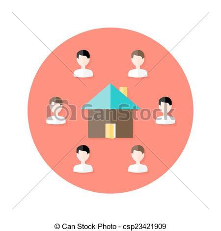 Vector Clipart of Real Estate Open House with People Circle Flat.