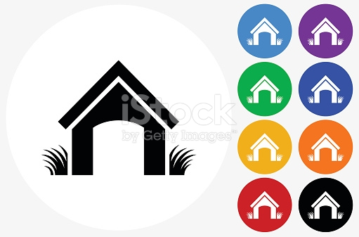 Dog House Icon On Flat Color Circle Buttons stock vector art.