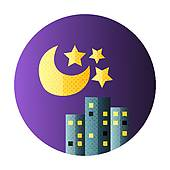 Clipart of Urban city night life flat circle icon k25661984.