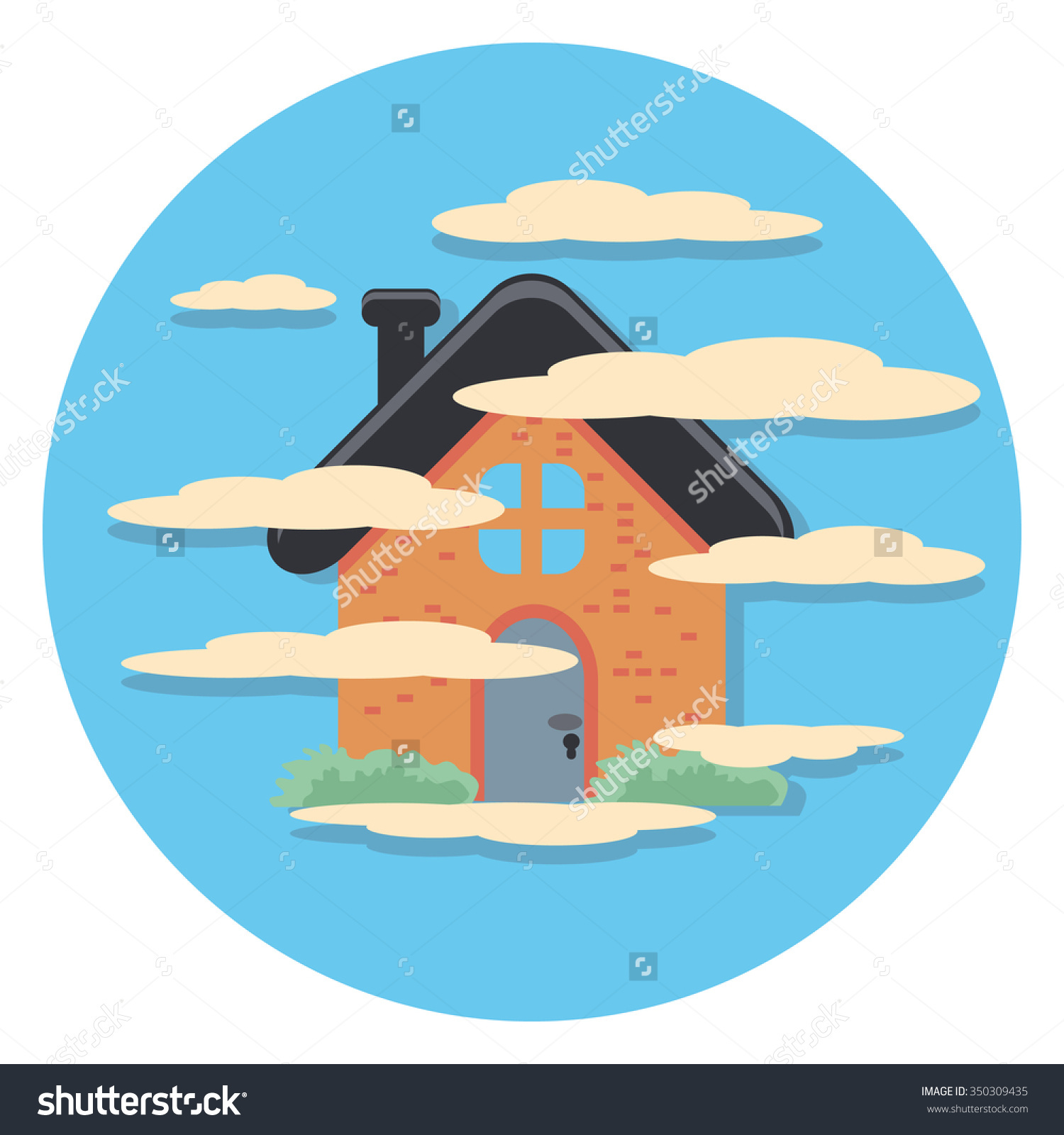 House Fog Flat Icon Circle Stock Vector 350309435.