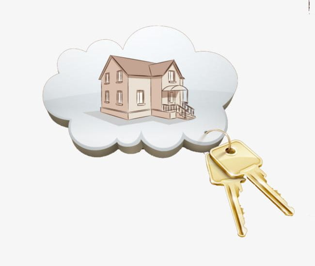 House Keys PNG, Clipart, Cartoon, Cartoon House, Clouds.