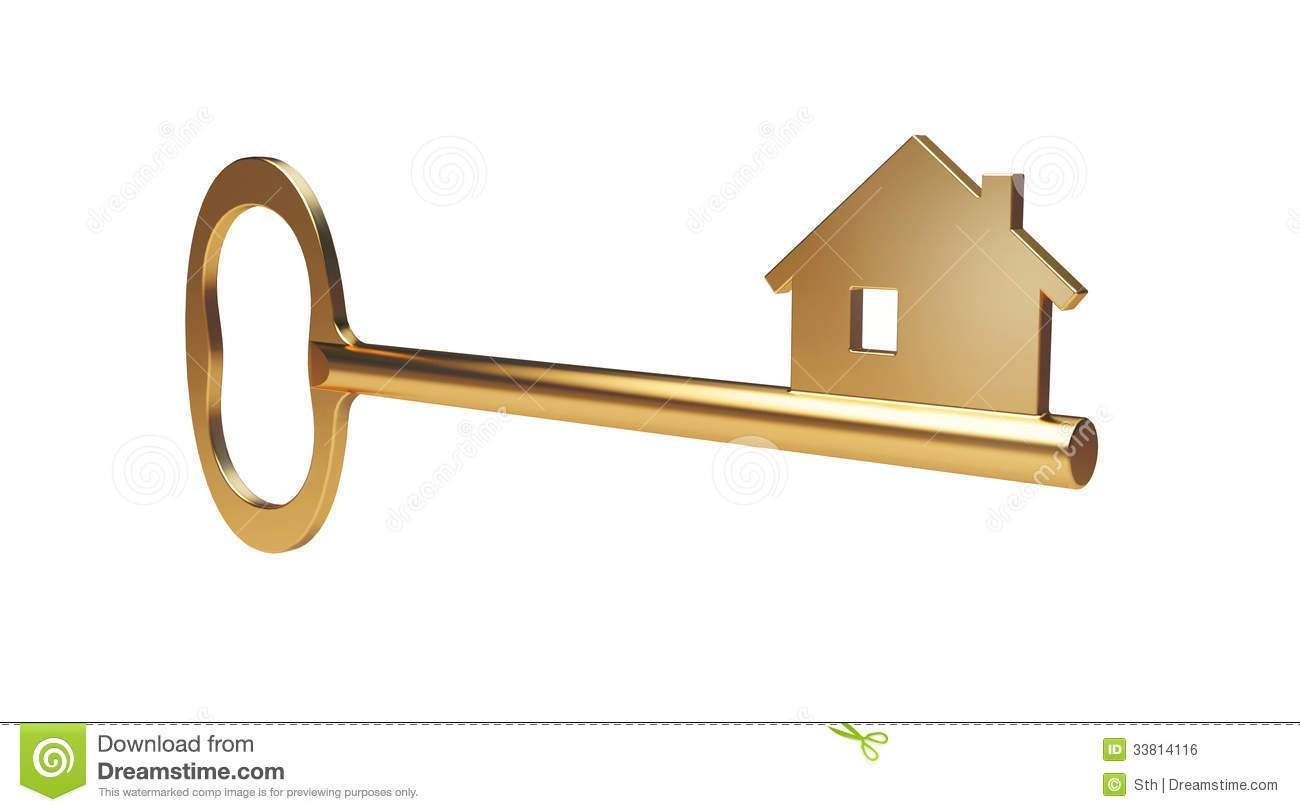 House Key Clipart Golden Home Key With House Shape At The.