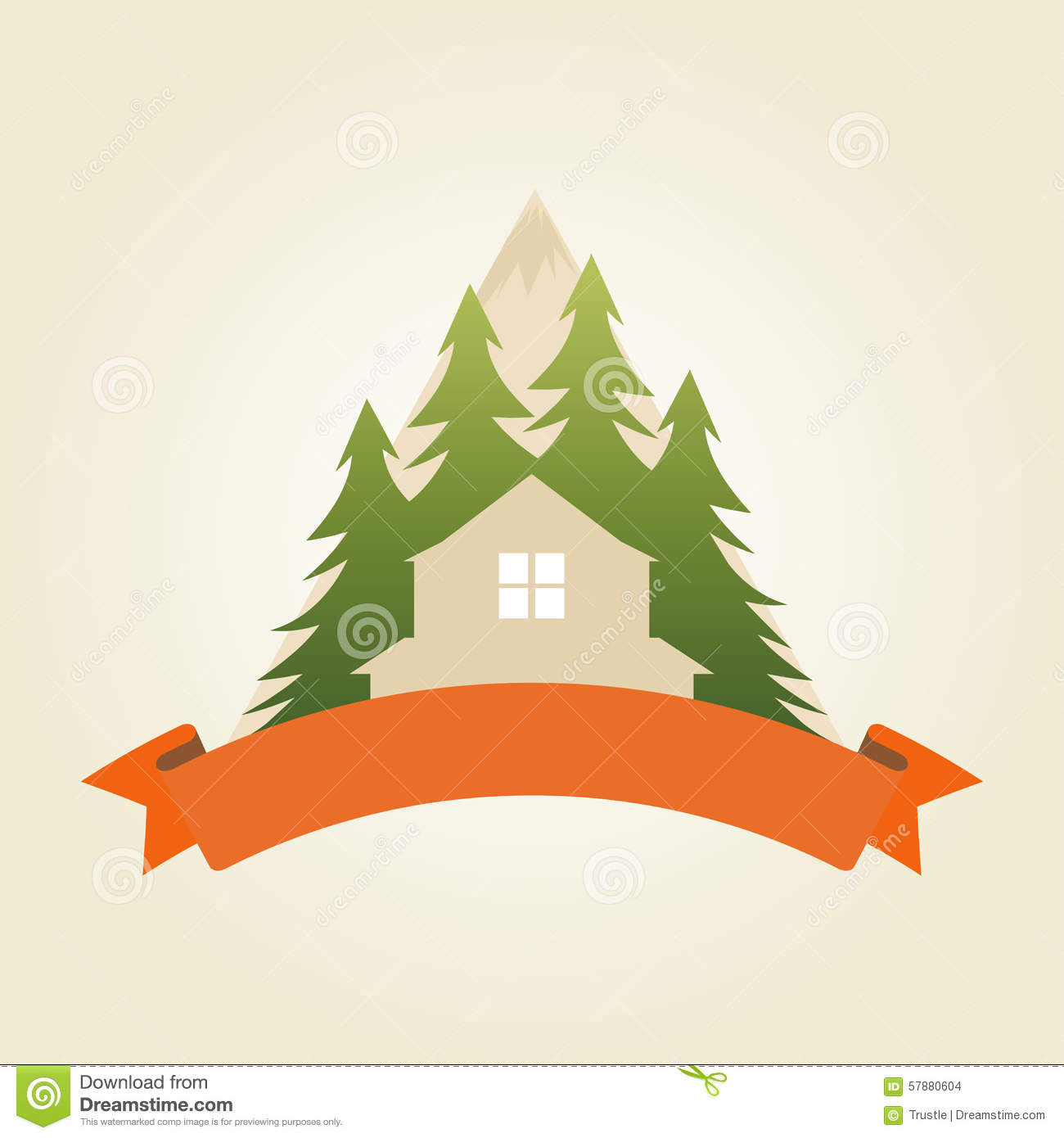 House In Mountains Stock Vector.