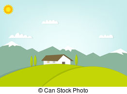 Vector Illustration of House on a Hill.